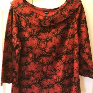 Women's Rafaella Red & Black Blouse